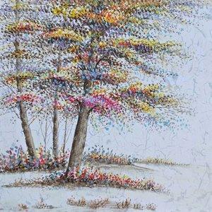 Schilderij - Handgeschilderd - Kleurrijke bomen 100x100cm