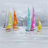 Schilderij - Handgeschilderd - Zeilboten 3 100x100cm
