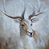 Schilderij - Handgeschilderd - Hert 3 100x100cm