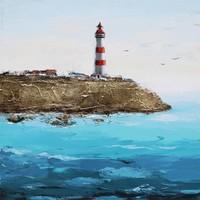 Schilderij - Handgeschilderd - Vuurtoren 3 100x100cm