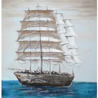Schilderij - Handgeschilderd - Schip 100x100cm