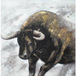 Schilderij - Handgeschilderd - Stier 100x100cm