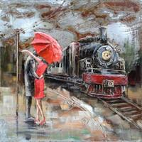 Schilderij - metaalschilderij - Treinstation 100x100cm