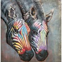 Schilderij - metaalschilderij - Zebra´s 100x100cm