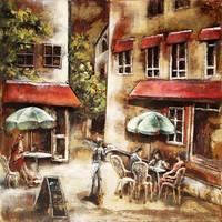 Schilderij - metaalschilderij - Zonnig terras , 100x100cm