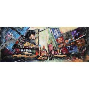 Schilderij - metaalschilderij - Gele Taxi's  ,60x150cm