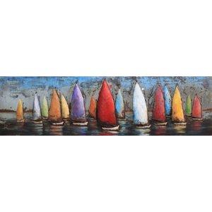 Schilderij - metaalschilderij - Zeilboten 50x180cm