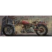 Schilderij - metaalschilderij - Motor 60x150cm