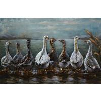 Schilderij - metaalschilderij -Ganzen 80x120cm