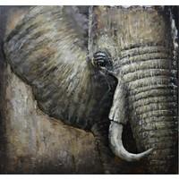 Schilderij - metaalschilderij -Olifant 100x100cm