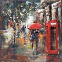 Schilderij - metaalschilderij -Londen in de regen 100x100cm