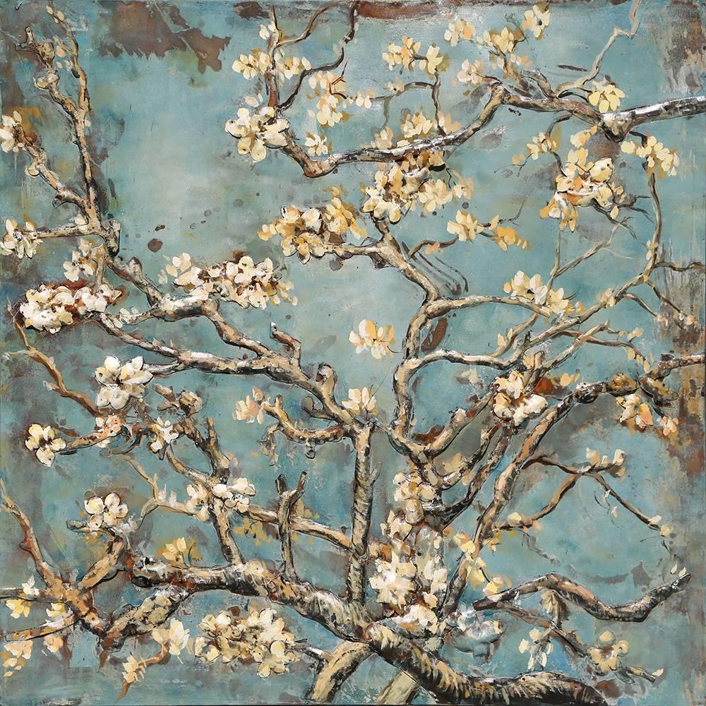 Schilderij - metaalschilderij -Lente bloesem 100x100cm