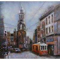 Schilderij - metaalschilderij -Stads gezicht, tram 100x100cm