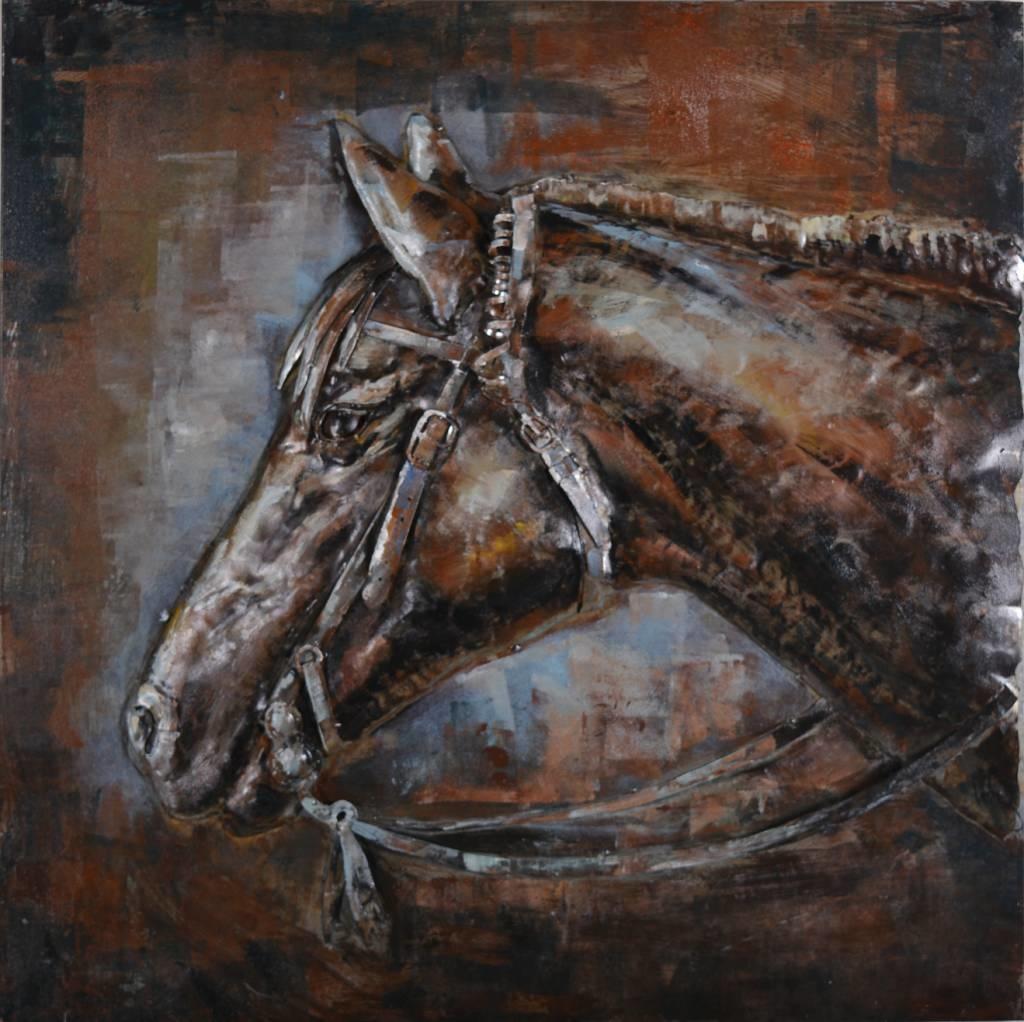 Schilderij - Metaalschilderij - Paard, 80x80cm