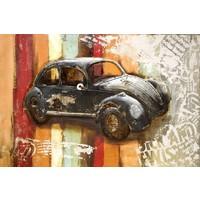 Schilderij - Metaalschilderij - Kever retro 2, 120x80cm