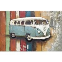 Schilderij - Metaalschilderij - Retro Busje, 120x80cm
