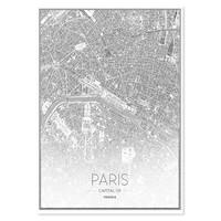 Schilderij - Luchtfoto van Parijs in zwart en wit