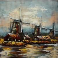 Schilderij - metaalschilderij -Hollandse Molens 100x100cm