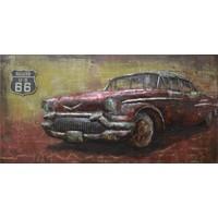 Schilderij - Metaalschilderij - Oldtimer route 66, 140x70cm