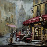 Schilderij - metaalschilderij -Café op de hoek 100x100cm