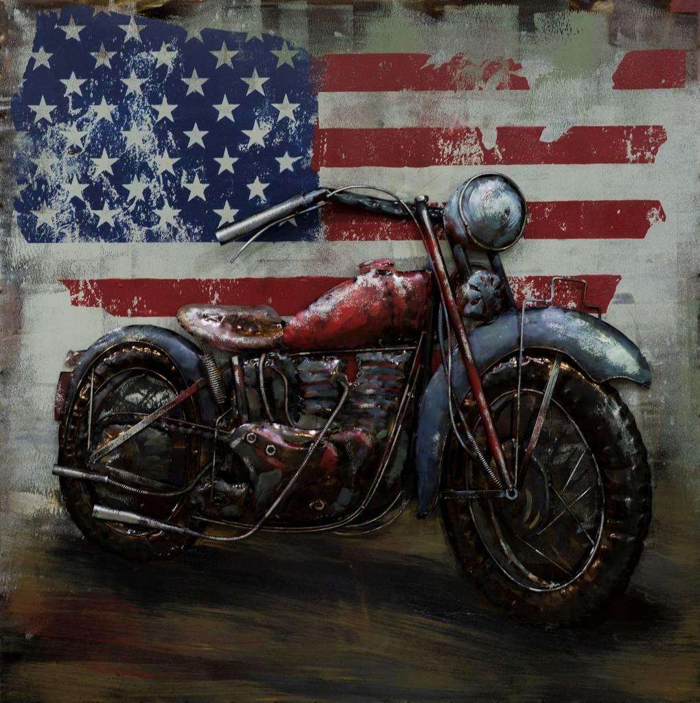 Schilderij - metaalschilderij -Motor in Amerika 100x100cm