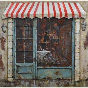 Schilderij - Metaalschilderij - Cafe Legend, 60x60