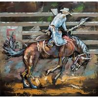 Schilderij - metaalschilderij -Rodeo I , 100x100cm