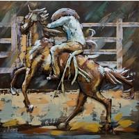 Schilderij - metaalschilderij -Rodeo II , 100x100cm