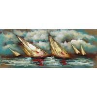Schilderij - Metaalschilderij - Zeilboten abstract, 150x60cm