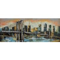 Schilderij - Metaalschilderij - Brooklyn Bridge, 60x150cm