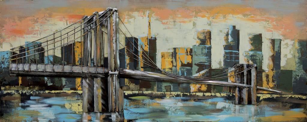 -22% SALE   Schilderij - Metaalschilderij - Brooklyn Bridge, 60x150cm