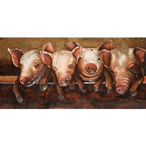 Schilderij - Metaalschilderij - Vrolijke varkens, 120x60cm