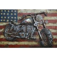 Schilderij - Metaalschilderij - Amerikaanse motorfiets, 60x40cm