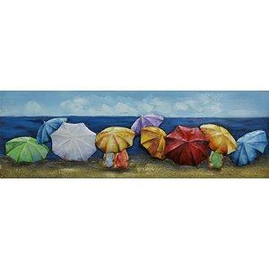 Schilderij - Metaalschilderij - Gekleurde parasols, 90x30cm
