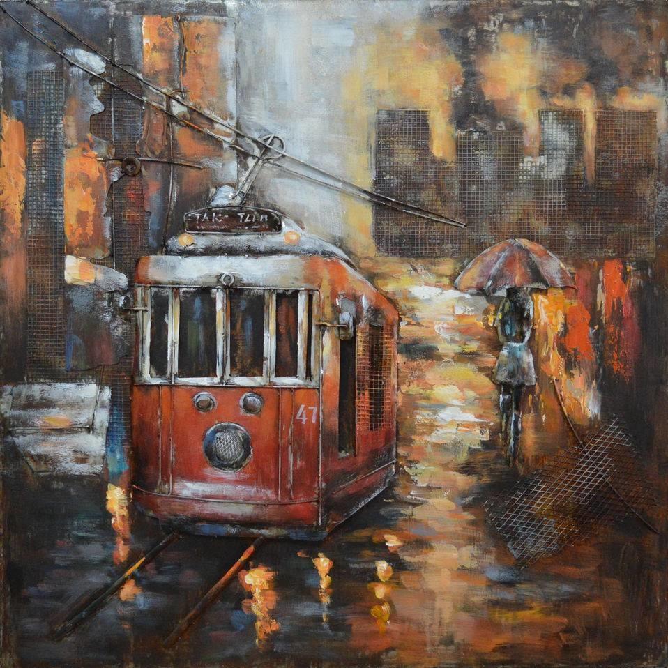 Schilderij - Metaalschilderij - Met de metro, 100x100cm