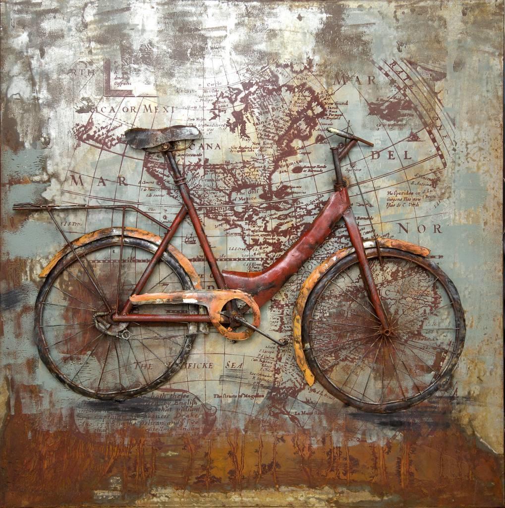Schilderij - Metaalschilderij - Fietsen om de wereld, 100x100cm