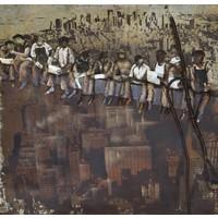 Schilderij - Metaalschilderijen - Mannen lunchen op wolkenkrabber, 100x100cm