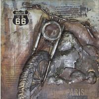 Schilderij - Metaalschilderij - Motorfiets route 66, 100x100cm