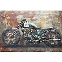 Schilderij - Metaalschilderij - Motorfiets, 120x80cm