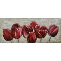 Schilderij - Metaalschilderij - Tulpen, 150x60cm
