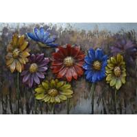 Schilderij - Metaalschilderij - Kleurrijke bloemen, 120x80cm