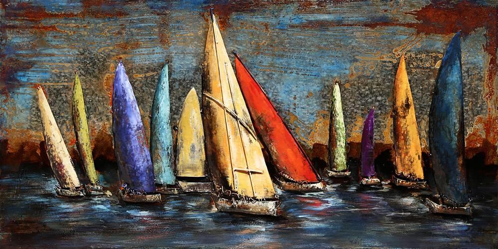 Schilderij - Handgeschilderd Metaalschilderij- Gekleurde zeilboten, 140x70cm