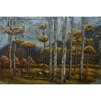 Schilderij - Metaalschilderij - Herten in het bos 2, 120x80cm
