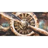 Schilderij - Metaalschilderij - Propellor, 140x70cm