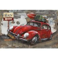 Schilderij - Metaalschilderij - Beach Oldtimer, 120x80cm