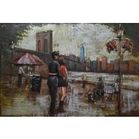 Schilderij - Metaalschilderij - Date in New York City, 120x80cm