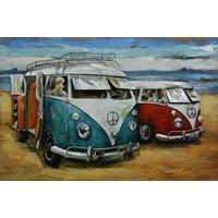 Schilderij - Metaalschilderij - Retro busjes op het strand, 120x80cm