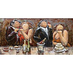 Schilderij - Metaalschilderij - Dikke dames in gezelschap , 180x60cm