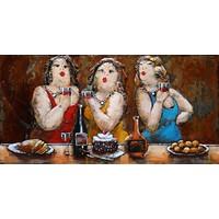 Schilderij - Metaalschilderij - Dikke dames aan de wijn, 120x80cm