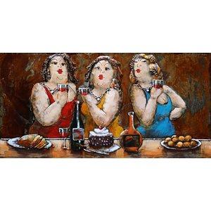 Schilderij - Metaalschilderij - Dikke dames aan de wijn, 180x60cm